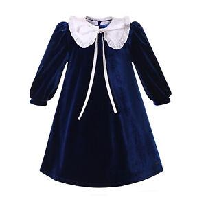 Pettigirl Girl Dress Navy Blue Velvet Long Sleeve White Collar Vintage Costume