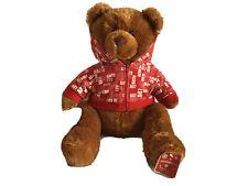 "AEROPOSTALE AERO BEAR 16"" Brown w/ Red White Logo Hoodie Jacket Plush Animal NWT"