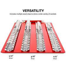 "2pcs 1/4"" 3/8"" 1/2"" Tray Holder Tool Storage Tray 80-Pcs Socket Holder Rails Set"