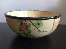 Fine Vintage Japanese Pottery Bowl Raised Enamel Flower Blossom Art Signed Nr