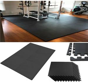 EVA Interlocking Floor Mats Soft Extra Thick Foam Black Gym Yoga Tiles Flooring