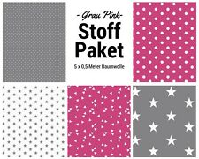 Stoffpaket pink grau 5x (0,5 x 1,50m) Patchworkpaket Baumwolle Nähpaket Stoffe