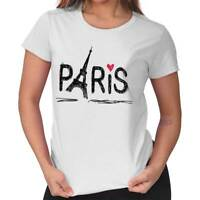 Paris Eiffel Tower French Romantic Graphic Womens Short Sleeve Ladies T Shirt