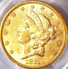 1861 $20 AU55 PCGS-ONLY 568 IN HIGHER GRADE-CIVIL WAR ISSUE -Liberty Head