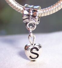 Letter S Heart Alphabet Initial Dangle Bead fits Silver European Charm Bracelets