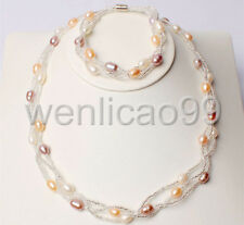 7-8mm White Pink Purple Freshwater Pearl Necklace Bracelets Jewelry 1 Sets