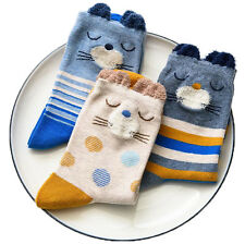 3 Pairs/Lot Women Girl 3D Ears Striped Dots Cats Cotton Blend Ankle Crew Socks