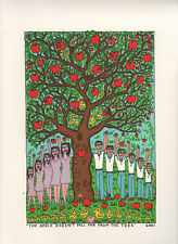 Farblithographie James Rizzi 2001: 2D The apple doesn't fall far from the tree