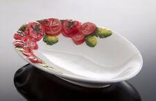 BASSANO ovales Tomaten Servierschälchen 21x15 mit Reliefen italienische Keramik