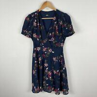 Dotti Womens Dress 8 Blue Floral Short Sleeve V-Neck