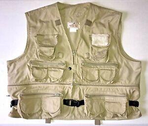 Vintage WOODFIELD Men's XL Fly Fishing Vest Shearling Khaki Tan POCKETS!!!!