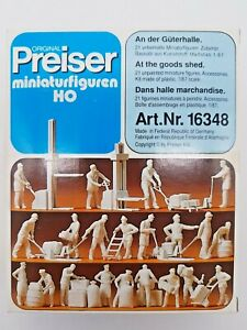 HO SCALE PREISER #16348 SET OF 21 UNPAINTED FIGURES & ACCESSORIES.FACTORY SEALED