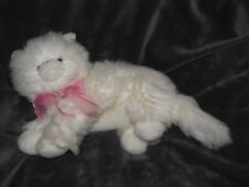 Commonwealth Stuffed Plush White Persian Long Hair Fluffy Kitty Cat Pink Bow