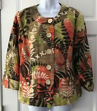 Coldwater Creek Petite Multi-Color Floral Print Blazer SZ P14 Cotton Linen Blend