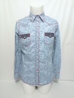 Roper Blue White Paisley Long Sleeve Shirt Mens Size Medium