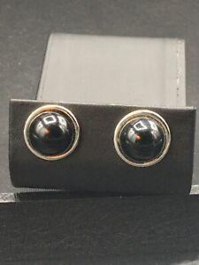 Avon Jewelry pierced earrings silver tone circle w/ smooth black stone NOS  E-44