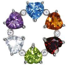 Topaz Citrine Garnet Peridot Gemstone Heart Sterling Silver Pendant + Chain