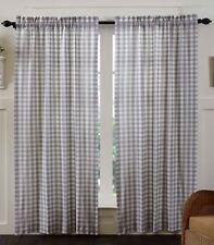 "84"" L Gray White Farmhouse Curtains Cotton Lined Tie Backs Annie Buffalo Check"