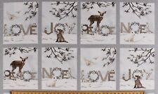 "Joy Noel/"" Panel by Robert Kaufman Winter White 3 /""Love Peace"