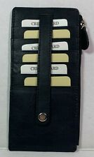 New Leather Slim wallet Zippered pocket with snap secured Card holder Black