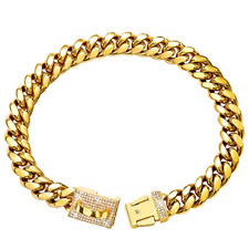 New listing Gold Dog Chain Collar Metal Chain Collar with Cubic Zirconia Design Secure 18K