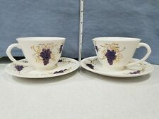 Vintage Grape Line A3449 Set of 2 Tea Cup And Saucer Bisque White Purple