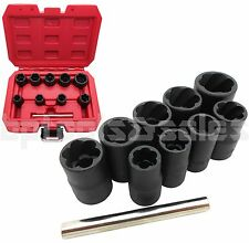 "10pc 3/8"" DR Locking Wheel Twist Socket Damaged Rounded Worn Nut Remover 10~19mm"