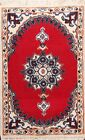 Vintage Traditional Hand-knotted Area Rug Geometric Oriental RED Wool Carpet 1x2