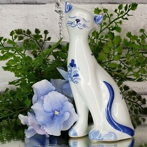 Vintage Elegant Blue White Cat Figurine Floral Statute Purfect Sweet Kitty