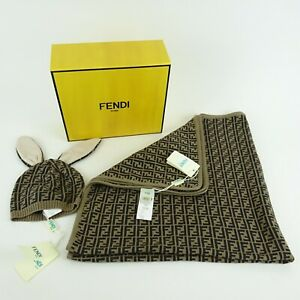Fendi Kids Brown FF Logo Blanket & Baby Bunny Hat NEW NIB