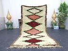"Moroccan Handmade Vintage Rug 3'7""x7'2"" Berber Geometric White Maroon  Carpet"
