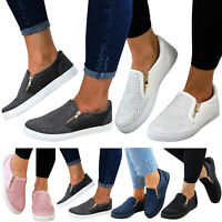 Womens Plimsolls Flats Slip Knit Casual Comfort Shoes On Pumps Sneakers Loafers