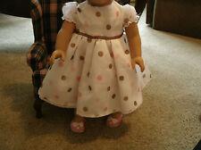 Handmade American Girl Doll Clothing white chiffon polka dot dress/pinkdot shoes