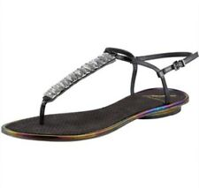 B Brian Atwood Callas Patent Leather Iridescent Black Crystal T-Strap Sandal 6