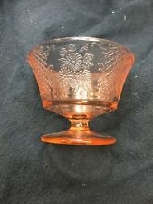 Normandie -Sherbet Pink Depression Glass -Federal Bouquet & Lattice Vintage