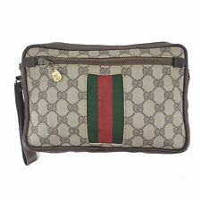 Authentic Gucci Vintage GG Supreme Monogram Pouch Clutch Bag in Brown Italy