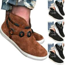 Womens High Top Sneakers Booties Ankle Boots Slip On Trainers Flat Shoes Casual