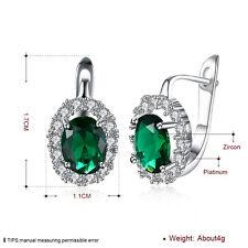 Women White Gold Plated Jewelry Green Oval Zircon Buckle Hoop Huggie Earrings