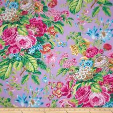 Cuarto gordo Kaffe Fassett Floral Delight-Lavanda-algodón tejidos de acolchar