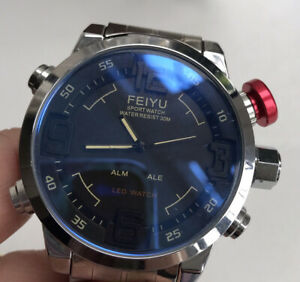 Feiyu Watch Large Face Stainless Sports Watch Quartz & LED Working