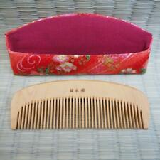 【TSUGE KUSHI】JAPANESE COMB TSUGE-KUSHI WITH CHIRIMEN CASE, CHERRY BLOSSOMS.(櫛002