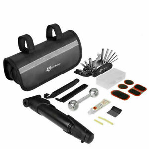 ROCKBROS Bicyle Bike Portable Tyre Repair Tool Kit Bag Multi-function Tool Black