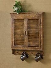 Rustic Primitive Distressed Wood Shutter Wall Cabinet ,Bath or Kitchen,32''H.