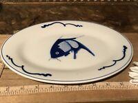"""Asian Porcelain Blue & White Koi Fish Oval Small Plate / Platter 9 7/8"""""""