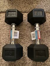 Weider Hex Rubber 2 X 15 lb Pounds (30 lbs Total) Dumbbell Weights Fast Shipping