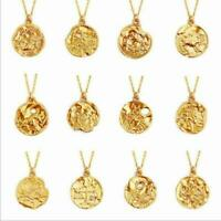 Zodiac Pendant Gold Chain Constellation Zirconia Necklace Stainless Steel New