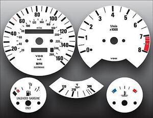 1988-1991 BMW M3 E30 3 Series Dash Instrument Cluster White Face Gauges