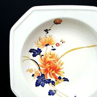 Mikasa Majestic Continental Ivory 4 Soup Bowls Orange Flowers 8 3/8 in Japan EUC