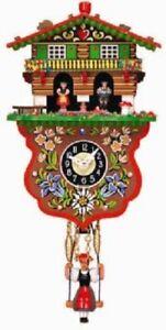 Swinging Girl Doll Quartz Movement Clock with Bavarian Couple Weather House