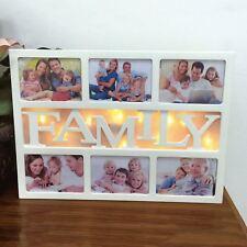 "Sentik 10 LED Warm White 6x4"" Family Multi Photo Picture Aperture Frame Holds 6"